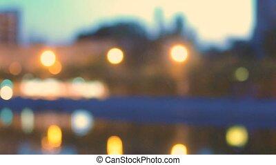 Defocused city skyline blurred colorized shot - Defocused...