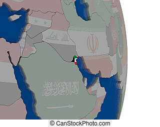 Kuwait with its flag - Map of Kuwait with its flag on globe....