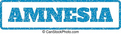 Amnesia Rubber Stamp - Blue rubber seal stamp with Amnesia...