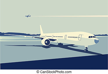 urban airport scene - Vector illustration of a detailed...