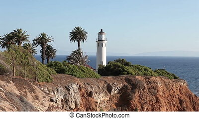 Lighthouse on the cliff. Point Vicente in Rancho Palos...
