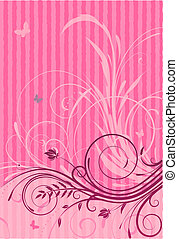 Floral Decorative background - Vector illustration of Pink...