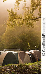 camp tent in mist