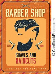 Barber Shop Poster - Barber shop poster with bearded stylish...