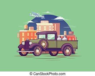 Retro Pickup Truck Concept - Retro pickup truck concept with...