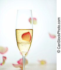 glass of champagne and falling rose petals