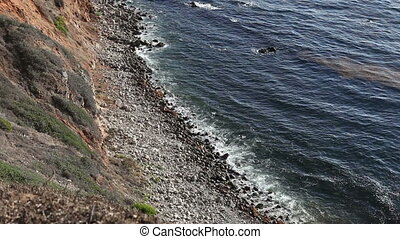 Beautiful pacific coastline and rocky beach. Aerial view -...