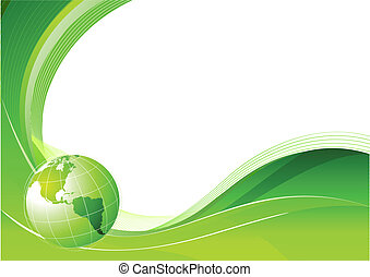 abstract lines background - Vector illustration of green...