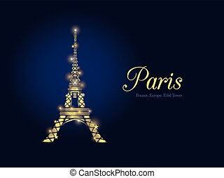 Vector Golden Glowing Eifel Tower in Paris Silhouette At...