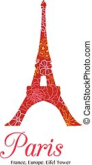 Vector Red Floral Eifel Tower Paris On St Valentines Day Of Love. Perfect for travel themed postcards, greeting cards, wedding invitations.