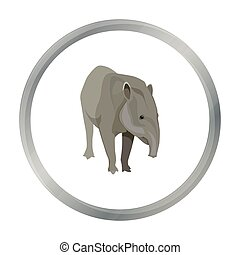 Mexican tapir icon in cartoon style isolated on white...