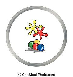 Balls for paintball icon in cartoon style isolated on white...