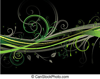 floral background - Vector illustration of black background...