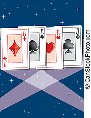 Aces 2 - Aces in the spotlight, part 2, vector illustration