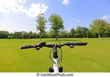 personne, Vélo, vue, premier