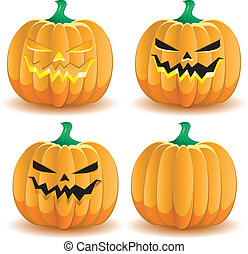 Halloween pumpkin with various lighting, part 3, vector illustration