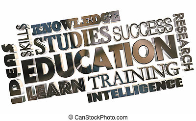 Education Learning School Training Word Collage 3d Illustration