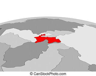 Tajikistan on globe in red - Map of Tajikistan highlighted...