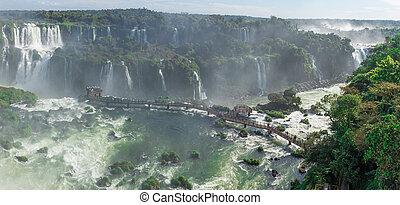 The Cataratas of Iguacu (Iguazu) falls located in Brazil -...