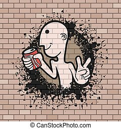 retro art character illustration in brick wall background -...