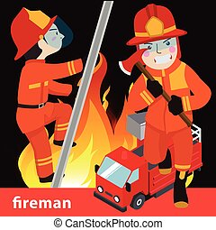 Fireman collection vector illustration