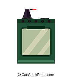 Stainless steel gas cooker vector illustration. - Stainless...