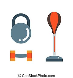 Punching bag flat illustration. - Punching bag flat...