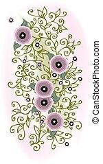 Refined Floral vignette Eau-forte In Color Bright decorative...