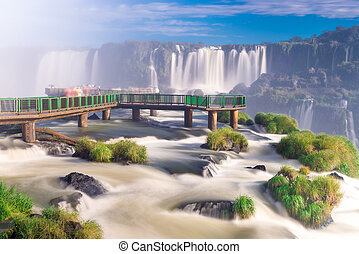 View of the world famous Iguazu Cataratas Falls with spring...
