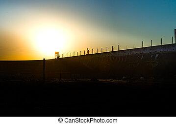 Sunset near the Itaipu dam on river Parana - Sunset near...