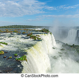The Cataratas of Iguacu (Iguazu) falls located in Brazil -...
