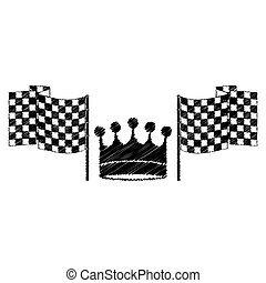 drawing monochrome to striped of racing flags and crown