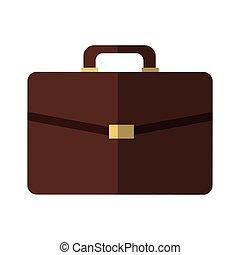 brown briefcase icon over white background. colroful design....