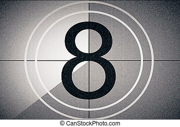 universal film leader, symbol counting down from 8, with...