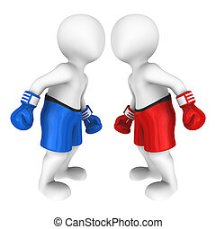 3d boxers. Meeting before fight. - 3d boxers looks eye to...