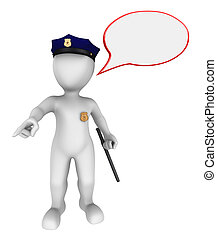 3d police officer gives the order - 3d police officer with...