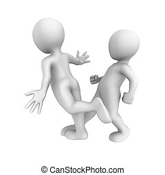 3d small people. Trip and fall down. 3d illustration