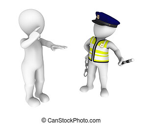 Sobriety test - 3d policeman and drunk driver. Sobriety test