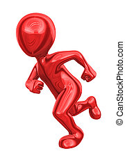 3d man from red metal runs.