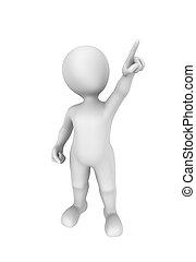 3d man pointing finger up. 3d illustration