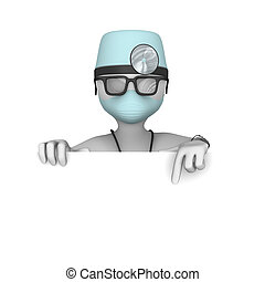 3d doctor. Blank billboard.