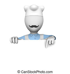 3d cooking chef with blank billboard.