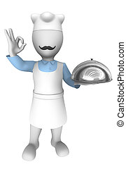 3d cooking chef with tray.