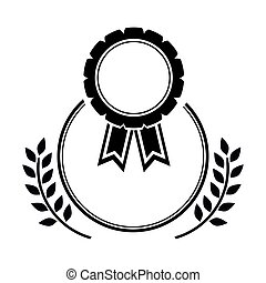 medal award in monochrome with olive branch
