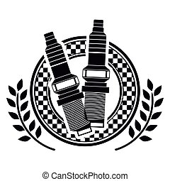 spark plug prize dish in monochrome with olive branch vector...