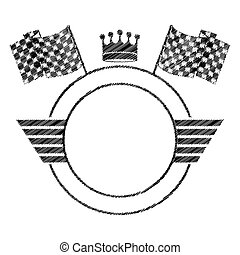 emblem striped monochrome circle contour with crown and...