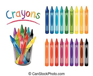 Crayons, Desk Organizer - Crayons in 18 rainbow colors,...
