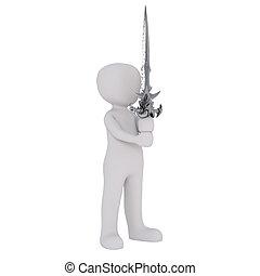 3D man with fantasy sword - Faceless 3D man cartoon...