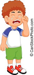 cute little boy cartoon crying - vector illustration of cute...