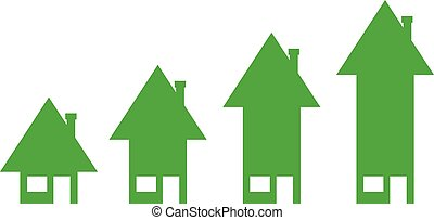 Houses moving up - 4 vector green arrow house icons moving...